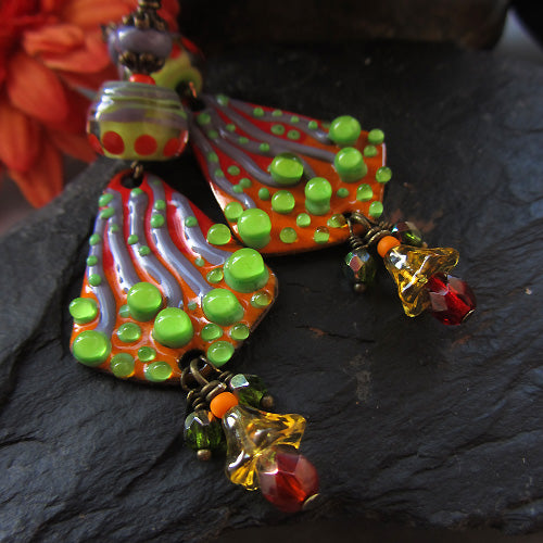 Made to Order ♥ Wild Cactus ♥  Handmade - lightweight fire torched Copper Earrings