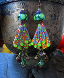 Green Cactus ♥ Handmade - lightweight fire torched Copper Earrings