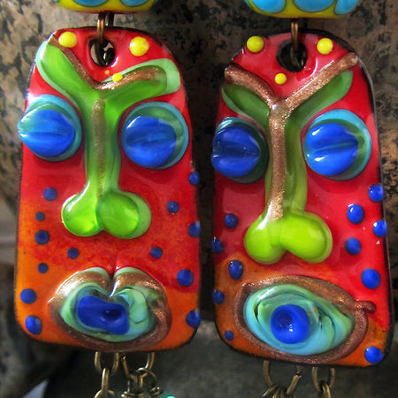 Monet's Garden - Handmade lightweight fire torched Copper Earrings