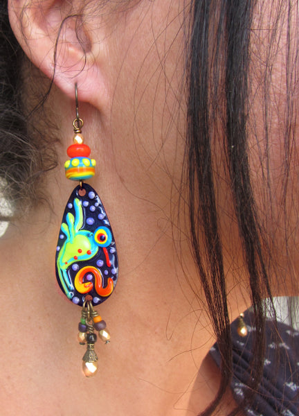 Made to Order ♥ Hummingbird on black ♥ Handmade lightweight Copper Art Earrings