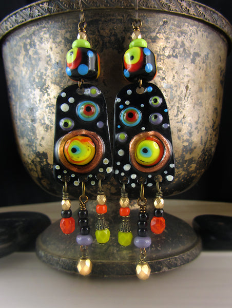 Black Opium ♥ Boho Chic lightweight Copper Art Earrings