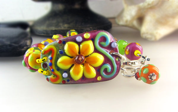 Sunshine ♥ Copper Art lampwork Bracelet