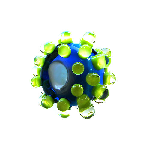 Green Dots ♥ Handcrafted Lampwork bead, round, big hole bead (1)