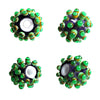 Green Dots ♥ Hancdrafted Lampwork bead, round, big hole bead (1)