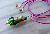 Art Glass on a Pink Leather Cord ♥ Handcrafted Lampwork Beads (1 + 3)