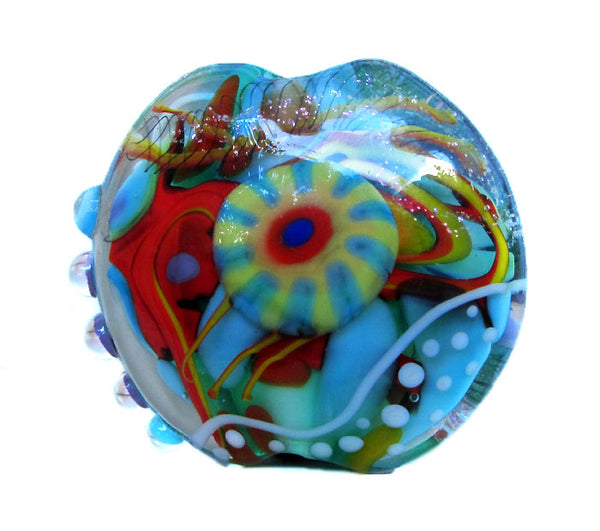 1 handmade Lentil shaped Lampwork Beads