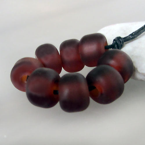 Made to order ♥  Dark Amber -  24 handcrafted  lampwork spacer glass beads ♥