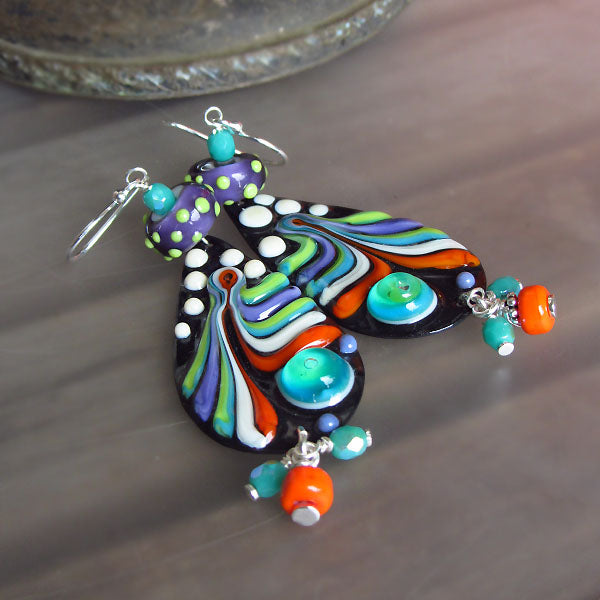 Boho Chic Earrings ♥ Lightweight enameled copper Art