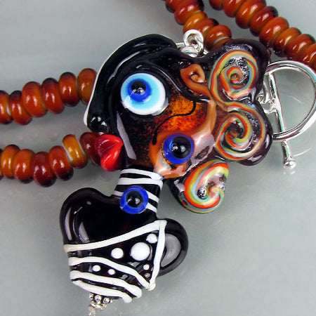 Enameled Copper Heart Necklace including Lampwork Beads