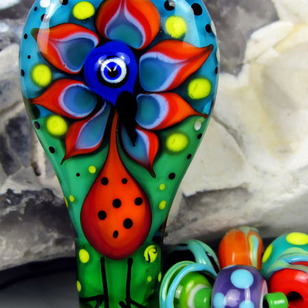 1 handcrafted *Crazy Chicken* Lampwork bead