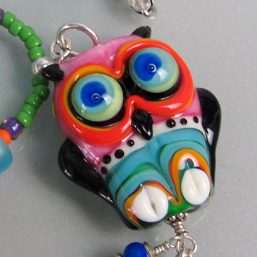 Funky, sassy Owl ♥ Handcrafted Lampwork Necklace