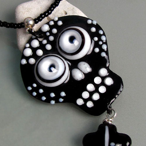 Copper Art ♥ Black & White Skull Pendant/Necklace ♥ Made to order