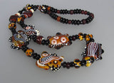 Hiding Zebra ♥ Handcrafted Lampwork Necklace by Michou