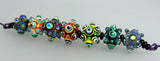 Funky Bubble Dots ♥ Handcrafted lampwork Bead set (7 +2 )
