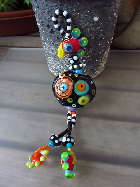 Funky roller skate Chicken on the run - Lampwork Necklace - handcrafted Glassbeads