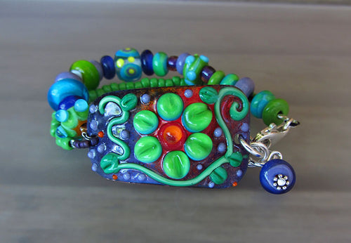 Flower Power green/turquoise  - Lightweight Copper Art Bracelet