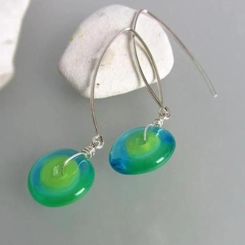 Lampwork earrings, murano glass designed by Michou Pascale Anderson