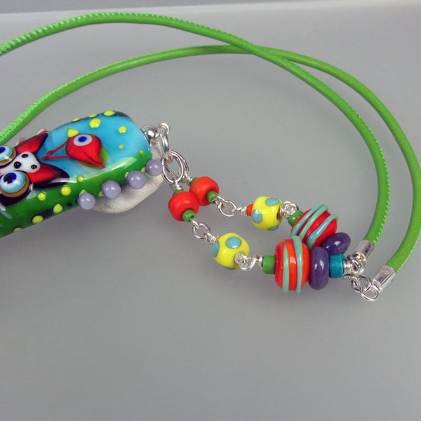 Some Birds own a cat....♥ Lampwork Pendant/Necklace by Michou