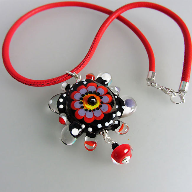 Color Pop Flower ♥ Lampwork Necklace by Michou Anderson