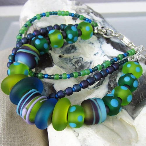 Boho Chic ♥ lampwork Bracelet including toho glass beads and sterling silver