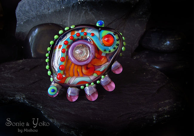 Tropical Bird - Lampwork Cabochon - interchangeable jewelry topper