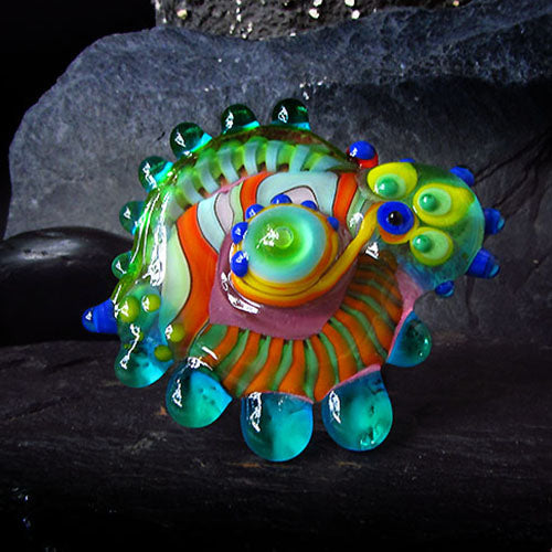 Psychedelic - Lampwork Cabochon - interchangeable jewelry topper