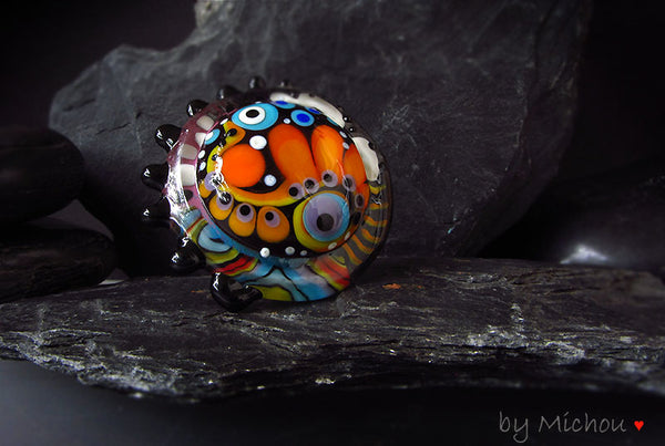Fairytale- Lampwork Cabochon - interchangeable jewelry topper