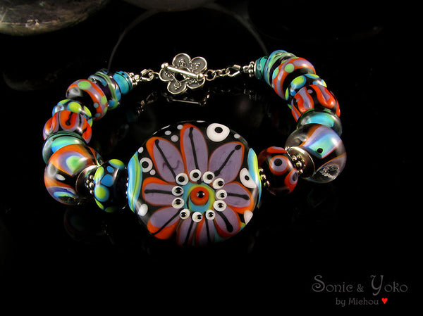 Passion of Love - Lampwork Bracelet including Sterling Silver