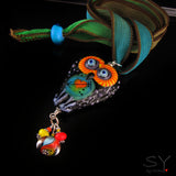 Funky Love Owl - Lampwork Pendant/Necklace