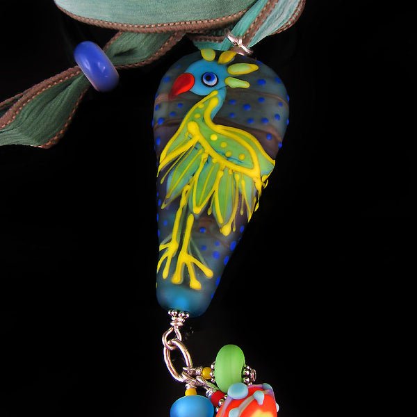 Paradise Bird - Lampwork Pendant/Necklace including my Signature at the back