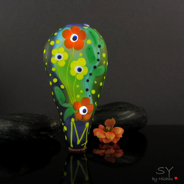 Jungle Bird - Lampwork Art Glass Focal Bead - Murano Glasperle