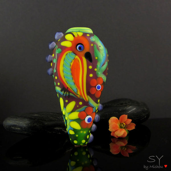 Sassy Parrot - Lampwork Art Glass Focal Bead - Murano Glasperle