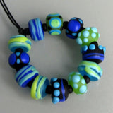 Dots and Stripes ♥ 12 Lampwork beads softly etched