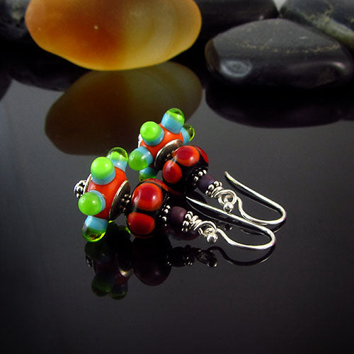 ROMA - MURANO GLASS LAMPWORK EARRINGS/ OHRRINGE