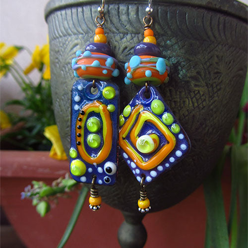 Enameled Copper Art Earrings