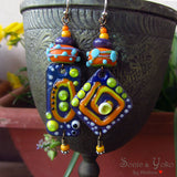 Morocco - Enameled Copper Art Earrings. Designed by Michou Pascale Anderson