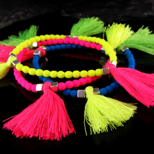 Pretty Neon - Tassels and charm Bracelet