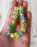 LAMPWORK SPACER BEADS - Frozen Beauties  8 Piece