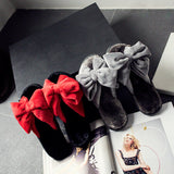2016 New Winter Warm At Home Women's Slippers Comfortable Soft Plush Indoor Shoes With Big Bowknot Female House Skid Slippers