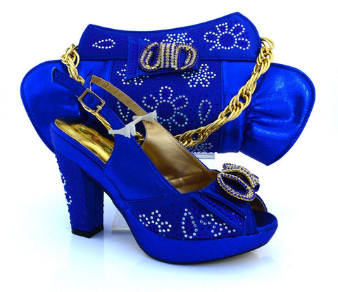 Latest Coming Elegant Italian Shoes and Bag Set Matching Fashion Dress Shoes And Bags In royal Blue Color!  VB1-92
