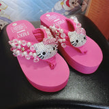 slippers - Fashion accessories ,clothing, jewelry, Bling Full Drilling Cathead Sewed Slippers Beach Wedges Flip Flops - clothing, Gorgeous things online - gorgeous things online