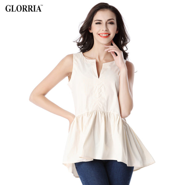 Glorria Women Lady Girls Summer Style Sleeveless Blouses V-Neck Draped Ruffles Hem Tops Fashion Casual Beige Shirts