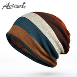 [AETRENDS] 2016 New Double Layers Cotton Striped Hip Hop Skullies Winter Warm Hats Scarves Beanies Headgear Z-5004