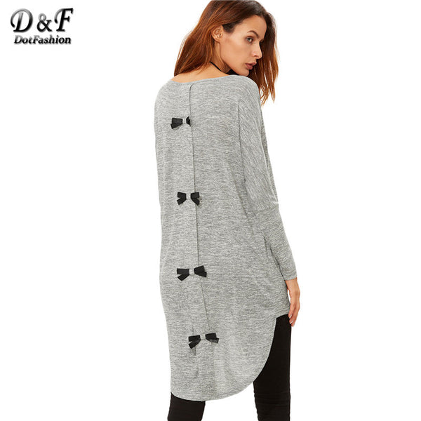 Dotfashion Korean Tops Clothes Women Long Sleeve Tops Winter Casual Women Grey Marled Knit Bow Back High Low T-shirt