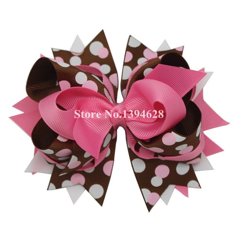 USD1.88/PC 5.5Inches Environment Friendly Pink,Brown,White Big Dot Bows,Stacked Boutique Bows With 6cm Hair Clip,Girl Hairpins