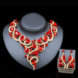 Lan palace nigerian wedding african beads gold plated necklace and earrings  bridal jewelry sets six colors free shipping