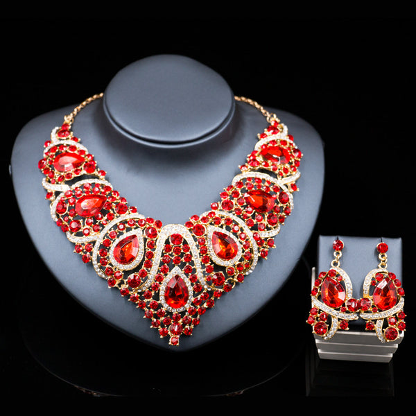 Costume jewelry set jewelry sets dubai gold plated necklace and earrings  bridal jewelry sets for women six colors free shipping