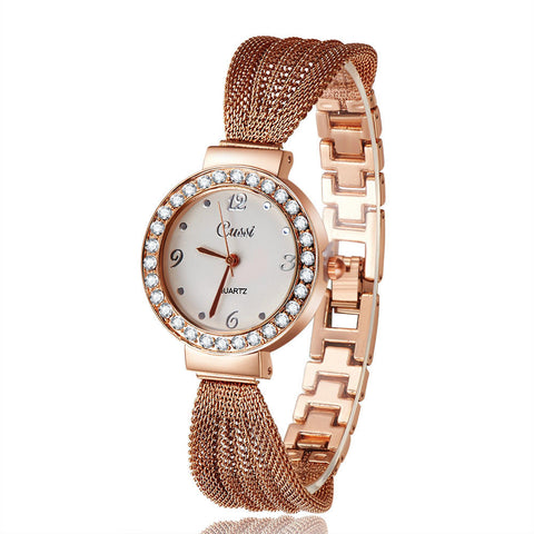 2016 New Casual Luxury Brand Cussi Women Dress Wrist Watches Classic Bracelet Rhinestone Quartz rose gold Watch Atmos Clock