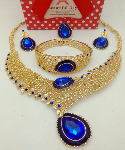 jewelry set - Fashion accessories ,clothing, jewelry, 2016 Ethiopian Jewelry Dubai Gold Plated Jewelry Sets Nigerian Wedding African Beads Crystal Necklace Earrings Jewellery Set - clothing, Gorgeous things online - gorgeous things online