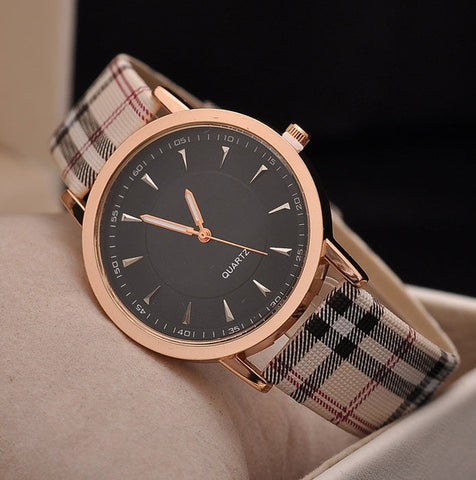 2016 Hot Sale Top Luxury Brand Casual Quartz Watch Gold Plaid Strip women Leather Strap Watch Lady Dress wristwatch reloj mujer